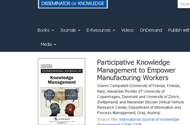 Participative Knowledge Management to Empower Manufacturing